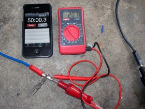 Burn testing the battery pack  with two 3 ohm 300W resistors to simulate the Scooter. 50 minutes burn time and still over 20V